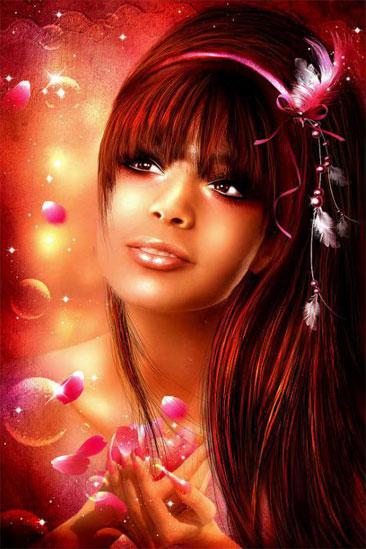 beau-visage-de-femme-bulles-plumes-flora