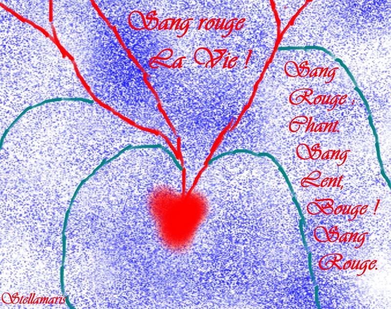 Sang rouge: La Vie ! / / Sang / Rouge : / Chant. / Sang / lent, / Bouge ! / Sang / Rouge. / / Stellamaris