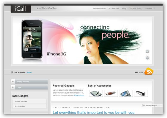 iCall May 2009 Joomla Template