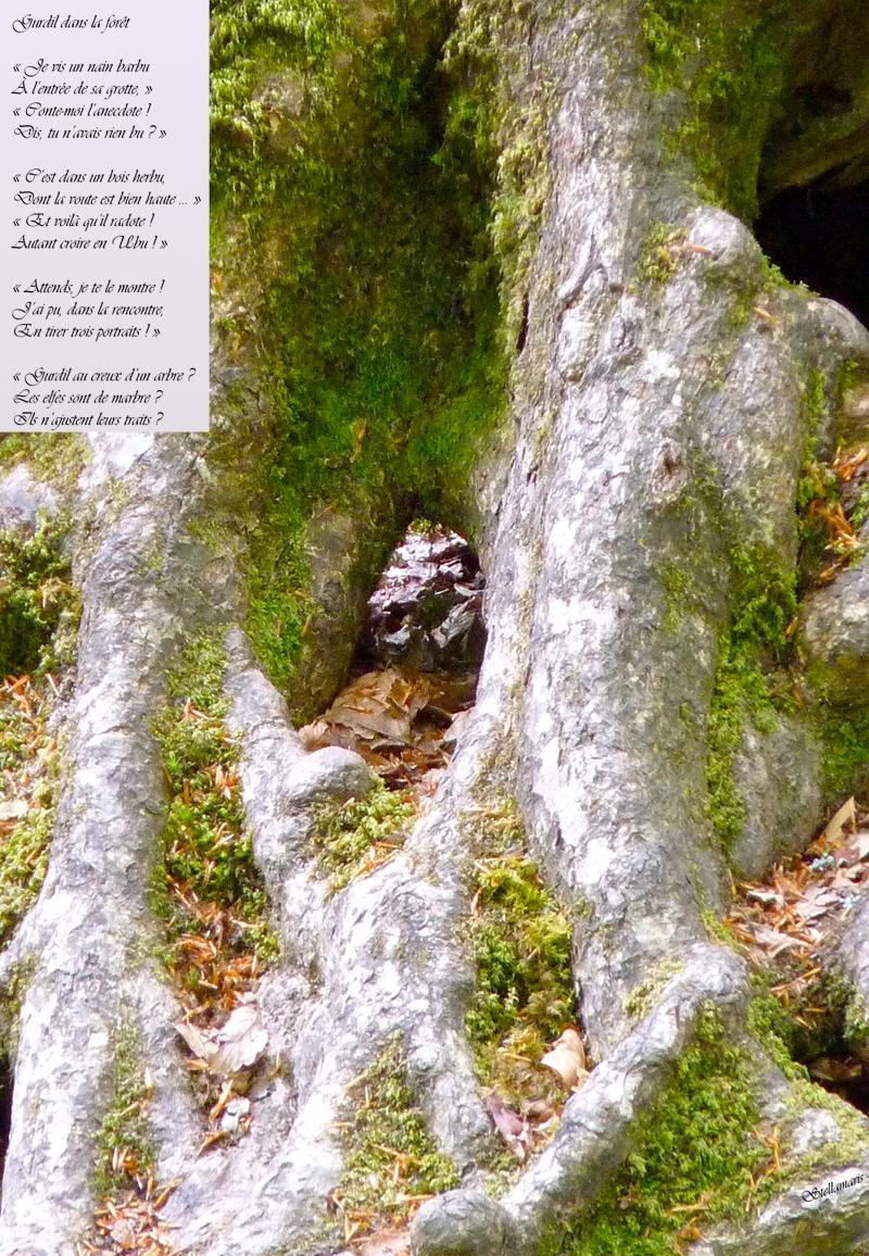 Gurdil dans la forêt / / « Je vis un nain barbu / À l'entrée de sa grotte, » / « Conte-moi l'anecdote ! / Dis, tu n'avais rien bu ? » / « C'est dans un bois herbu, / Dont la voute est bien haute … » / « Et voilà qu'il radote ! / Autant croire en Ubu ! » / / « Attends, je te le montre ! / J'ai pu, dans la rencontre, / En tirer trois portraits ! » / / « Gurdil au creux d'un arbre ? / Les elfes sont de marbre ? / Ils n'ajustent leurs traits ? / / Stellamaris
