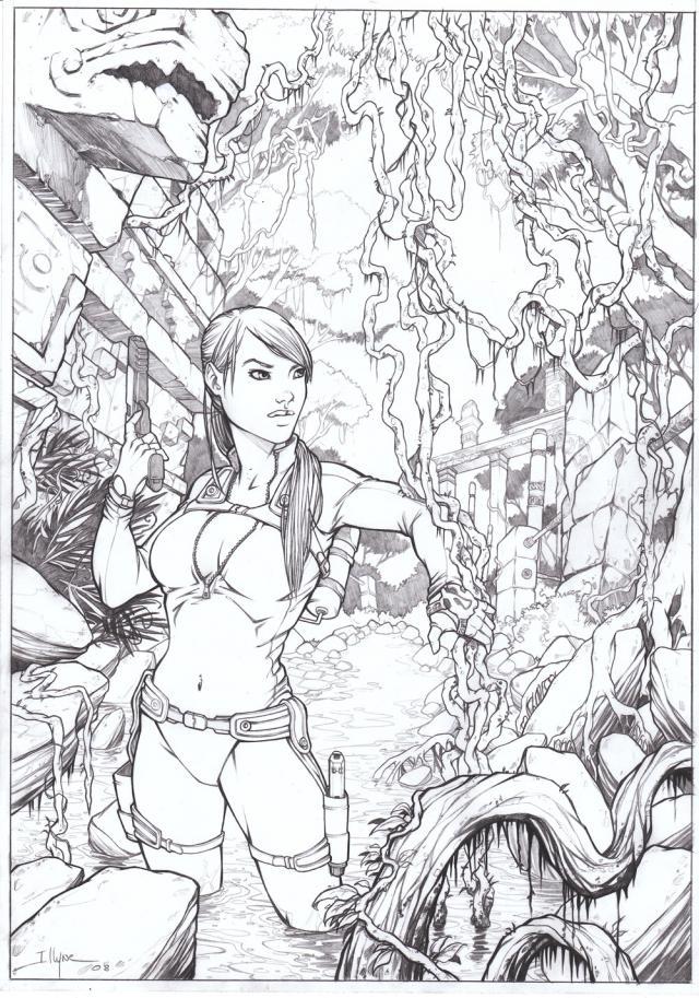 color soon - Lara Croft Coloring Pages